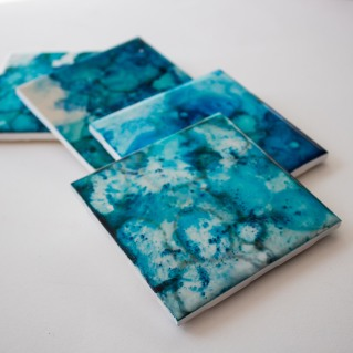 Tile Coaster Series, Alcohol ink on tile, February 2018
