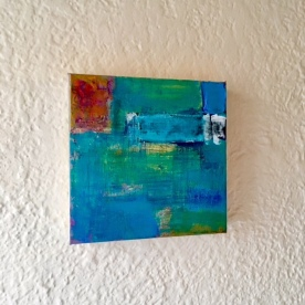 Meg Ciccantelli. Blues. Acrylic, paper on gallery-wrapped canvas.