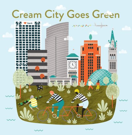Melissa Johnson Art. Cream City Goes Green, Shepherd Express.